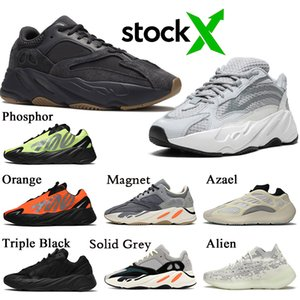 Stock x Kanye west Yeezy 700 Vanta Static Mujer Hombre Zapatillas de deporte Moda Fósforo Naranja Wave Runner 700 Sólido Gris Diseñador Casual Zapatillas de deporte