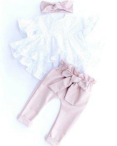 Manica corta Pudcoco 2020 3PCS appena nato Kid neonate dei vestiti del merletto tops maglietta + ghette Outfit