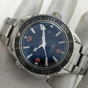 2019 melhor fábrica Cal Automatic 8900 Black Watch Calendar Cerâmica Oceano Relógios completa de aço 45MM 007 Mergulho 600m planeta Luminosos Relógios de pulso