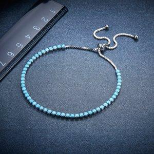 Hutang 100٪ اصلي 925 فضة الأزرق نانو الفيروز أساور قابل للتعديل للمجوهرات هدايا عيد الميلاد الجميلة فتاة النسائية