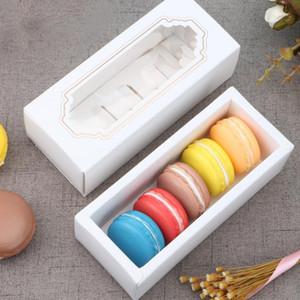 Chocolat Transparent Boîte Macaron Boîte tiroir Boîtes Boîte à Gâteau Biscuits Biscuit Livre blanc Boîte 14,5 * 5,5 * 5cm Coffrets cadeaux