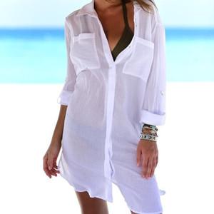Shirt-Kleid-Sommer Designer Sexy Langarm-Revers-Ansatz Tasche Thin Strand Smogs Feamles Unregelmäßige Shirt der Frauen Solid Color