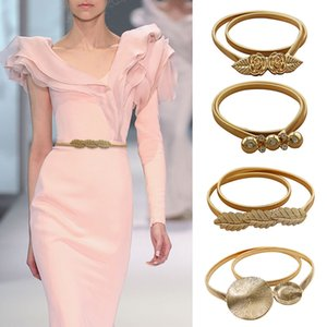 Ladies Belts For Dresses Gold Color Elastic Belts For Women Metal Stretch Skinny Girls Waist Belts With Flowers cinto feminino