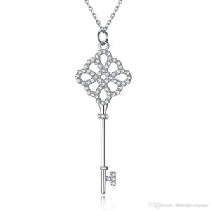 S925 Sterling Silver Keys Petals Key Pendant Necklace with Diamonds Chinese Knot Silver Necklaces Best Valentines gift for women