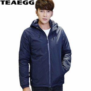 TEAEGG Azul Alta Qualidade 2019 jaqueta de inverno Homens Parka Homme casacos de inverno mens e casacos grossos Masculino Vestuário Outwear AL350