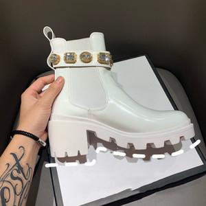 Las nuevas mujeres de las botas de cuero auténtico Chunky talón Zapatos de mujer de zapatos de plataforma Nobel Desert Boot Botas botines Femmes de última moda de señora