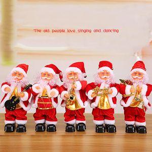Natale creativo elettrico Babbo Natale cantando ballando sassofono bambola giocattolo regalo di Capodanno per bambini giocattolo Navidad Xmas Decor