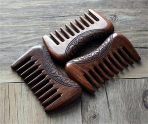 Yeni BEUTY Cep Ahşap Tarak Doğal Altın Sandal Ağacı Süper Geniş Diş Ahşap Combs Çift taraflı küçük saç tarak kazınmış