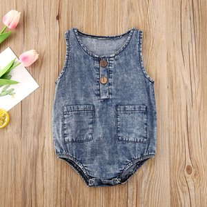 2020 new Newborn Infant Baby Girls Boys Bodysuits Blue Denim Sleeveless Summer Jumpsuits Outfits Size 0-12M