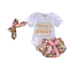 Baby Girl pagliaccetto Outfits Lettera Corona Top stampati Bow Perle Tutu paillettes Pantaloncini con archetto tre pezzi bambini vestiti casuali 0-24M