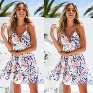 Summer 2020 Europe and the United States sexy deep V hollow stitching suspender dress women