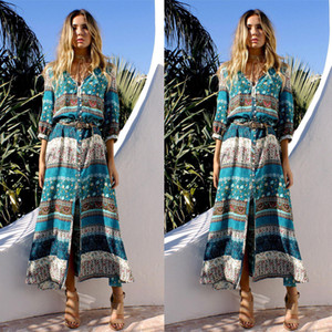 2019 Fashion Print Double-Breasted Ladies Dress Beach Resort