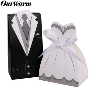 OurWarm Bride Groom Wedding Favors Candy Gift Box DIY Paper Wedding Suit Dress Bonbonniere with Ribbon Party Decoration