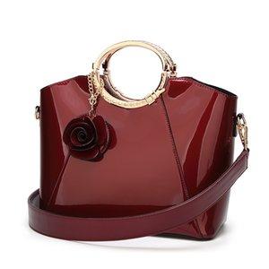 nuova borsa da donna, moda europea e americana lacca spalla spalla singola donna spalla obliqua attraverso borsa in pelle lucente