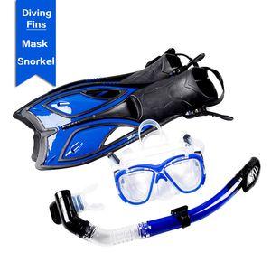 180 grados de amplio equipo de submarinismo bajo el agua desmontable máscara del salto de la cara llena de snorkel máscara de la natación del tubo respirador aletas de natación conjunto