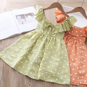 Girl Casual Dresses 2020 New Summer Polka-dot Girls Dress Elegant Girls Flying Sleeveless Dress Baby Kids Clothing Vestidos 2-7Y