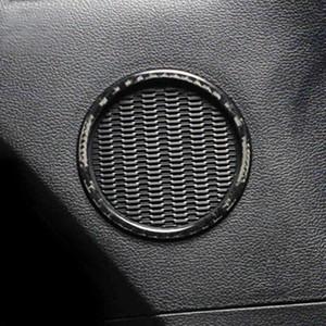 Bague de porte en fibre de carbone Bague de porte Son décorations audio Haut-parleur garniture Auto Accessoires pour Ford Mustang Carton de voiture