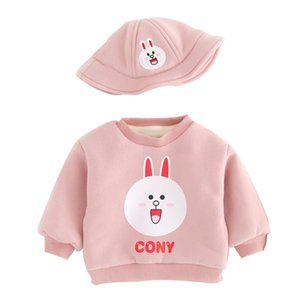 Baby plus velvet sweater autumn and winter new female baby foreign style thick cotton coat silver fox winter assembly hat