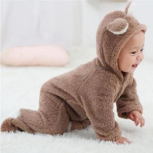ربيع الخريف ملابس الطفل الفانيلا طفل رضيع الملابس الكرتون الحيوان 3d الدب الأذن رومبير بذلة الدافئة الوليد الرضع رومبير