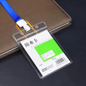 10 Pack étanche refermable Zip type épais Carte ID clair Exposition PVC Nom Badge Holder avec le bureau bleu Lanières de cou Cordes