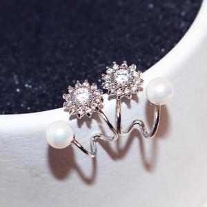 grande marque style ins boucles d'oreilles designer super brillant diamant zircon cristal perle de tournesol boucles d'oreilles femme