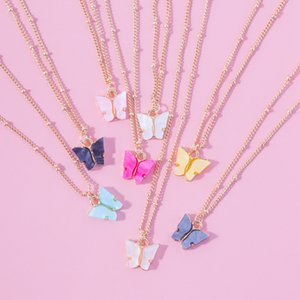 2020 New European and American Fashion Wild Accessories Colored Butterfly Necklace Clavicle Chain Necklace Couple Jewelry Best Holiday Gifts
