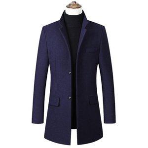 Autumn Winter Wool Jacket Men Casual Slim Fit Long Woolen Coat Overcoat Casaco Masculino Windbreaker Jacket Male Trench Pea Coat