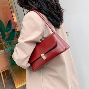 Designer Vintage Fashion Female Solid Tote Bag 2020 New High Quality PU Leather Women's Handbag Lock Shoulder bag