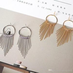 Temperament simple retro exaggerated circle circle long section geometric exaggerated tassel earrings wholesale free shipping