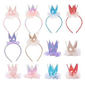 Lace flower girls hair sticks rainbow crown girls hair clips party designer headbands princess kids barrettes girls hair accessories B1514