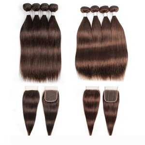 Indian Straight Human Hair Bundles With Closure #2 #4 Chocolate Brown 3 or 4 Bundles with Lace Closure Remy Human Hair extensions