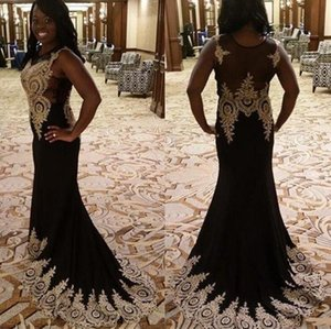 Black Long Prom Dresses 2020 Elegant Mermaid Evening Gown Gold Applique Sleeveless vestidos de gala