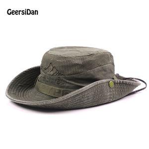 Geersidan Yeni Pamuk Yaz Bahar erkek Kova Büyük Geniş Ağız Balıkçılık Şapka Erkekler Kadınlar Için Yürüyüş Sombrero Gorro Erkek Güneş Şapka C19041201