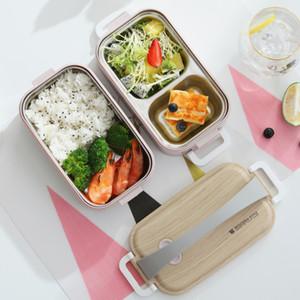 Double-couche étanche boîte à lunch en acier inoxydable 304 récipient alimentaire compartiment étudiant pique-nique portable bento boîte avec poignée