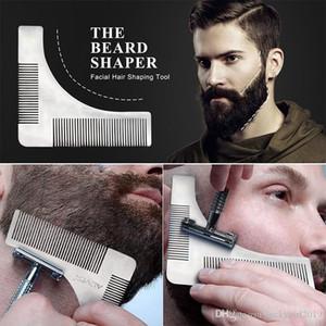Aço inoxidável Beard Bro Shaping ferramenta Styling Template BARBA SHAPER Comb para o modelo Beard Modeling Tools Comb com pacote