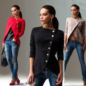 2018 New Moda feminina jaqueta casual manga comprida Oblique botão do terno Brasão Outwear Fino sólido Magro macia Bodycon vestuário Skinny