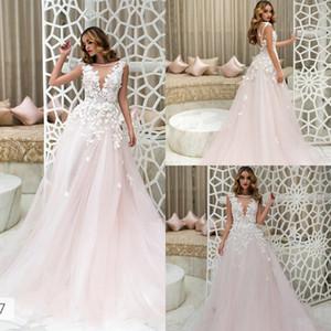 Robes de mariée appliques de dentelle rose col bijou appliques de dentelle mancherons Boho balayage train pays bohème robes de mariée