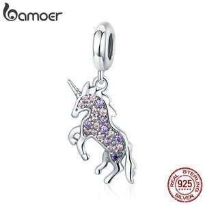 Pandora Stil 925 Ayar Gümüş Licorne Bellek Kolye Renkli CZ Hayvan Charms Fit Kadınlar Bilezikler Kolye Takı Yapımı
