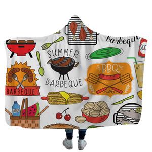 캠핑 후드 담요 3D 인쇄 양털 던져 담요 성인 아이 부드러운 따뜻한 셰르파 케이프 여행 피크닉 수건 착용 싸는 GGA2585