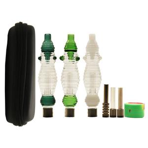 지퍼 케이스 510 유리 버블 러 티타늄 석영 4 색 유리 버블 파이프 세라믹 네일 팁 다채로운 버블 러 봉 핸드 파이프 DHL 무료