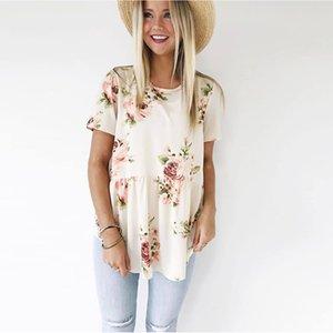 Women's T-Shirt Fashion 2021 Summer Women Short Sleeve Casual Floral Printing O-neck Ruffle Beach Female Clothing T Shirt Tee Tops