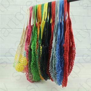 Magasinage réutilisable épaule colorés Sacs légumes fruits Mesh Épicerie Totes Sac en coton tissé net Sacs D31008 portable Sac de rangement