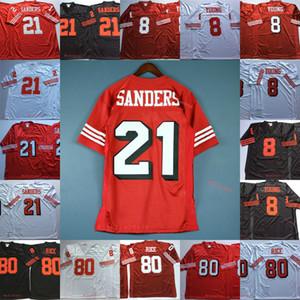 Mens # 8 Стив Янг футбол Джерси прошитой # 21 Deion Sanders # 80 Джерри Райс Урожай Джерси 75-