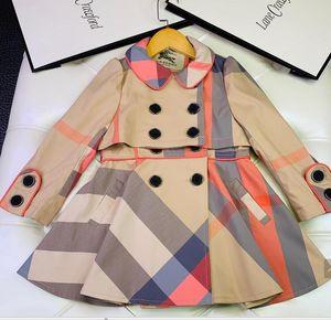 Kız çocuk ceket spor mont Izgara trençkot Outwear Çocuk Giyim büyük düğmeler
