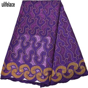 2020 African Laintel Fracks Holes Nigerian Swiss Cotton Voile Lace In Switzerland With Stone Cotton Lain For women Party Garments BG-074