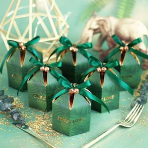 200pcs Verde Candy Box con il nastro Cioccolato Confezioni Regalo di souvenir per gli ospiti favori wedding e regali di compleanno acquazzone di bambino favorisce Scatole