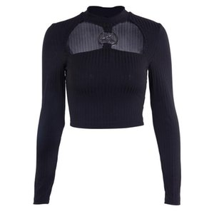 hot 2019 Pastel Goth Black Turtleneck Knitted Sweater Sexy Crop Top Long Sleeve Steam Punk Stars Patchwork Tops