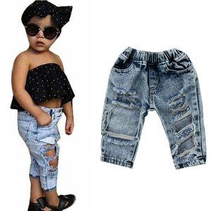 Новорожденных Baby Girl Ripped Hole Джинсы Длинные джинсовые брюки Костюмы Брючные Одежда 6M-5T