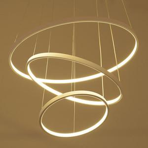 Anneau circulaire moderne suspendu lumières 3/2/1 cercle anneaux acrylique corps en aluminium LED éclairage plafonnier luminaires