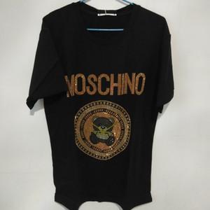 Neue Sommer-Mode-T-Shirt Frauen Spitzen Hemden kurze Hülsen-T-Shirt der Männer Netter Sequin Bärnentwurf Tops Tees der Frauen.